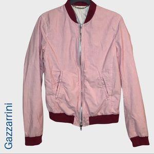Gazzarrini Italian maroon stripe bomber jacket